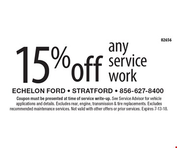 15% off any service work. Coupon must be presented at time of service write-up. See Service Advisor for vehicle applications and details. Excludes rear, engine, transmission & tire replacements. Excludes recommended maintenance services. Not valid with other offers or prior services. Expires 7-13-18.