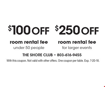 $100 off room rental fee under 50 people. $250 off room rental fee for larger events. With this coupon. Not valid with other offers. One coupon per table. Exp. 7-20-18.