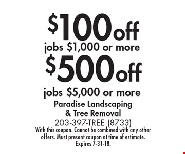 $500 off jobs $5,000 or more. $100off jobs $1,000 or more. With this coupon. Cannot be combined with any other offers. Must present coupon at time of estimate. Expires 7-31-18.