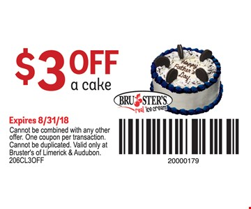$3 Off a cake. Cannot be combined with any other