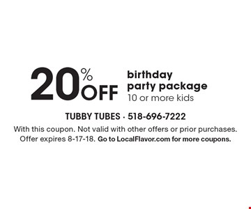 20% off birthday party package 10 or more kids. With this coupon. Not valid with other offers or prior purchases. Offer expires 8-17-18. Go to LocalFlavor.com for more coupons.