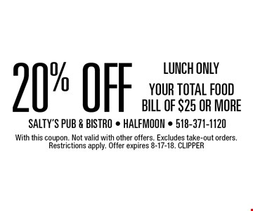 LUNCH ONLY 20% OFF YOUR TOTAL FOOD BILL OF $25 OR MORE. With this coupon. Not valid with other offers. Excludes take-out orders. Restrictions apply. Offer expires 8-17-18. CLIPPER