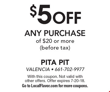 $5 off any purchase of $20 or more (before tax). With this coupon. Not valid with other offers. Offer expires 7-20-18. Go to LocalFlavor.com for more coupons.