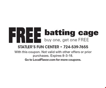 Free batting cage, buy one, get one FREE. With this coupon. Not valid with other offers or prior purchases. Expires 8-3-18. Go to LocalFlavor.com for more coupons.