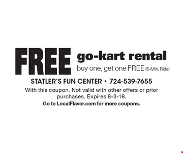 Free go-kart rental, buy one, get one FREE (5-Min. Ride). With this coupon. Not valid with other offers or prior purchases. Expires 8-3-18. Go to LocalFlavor.com for more coupons.