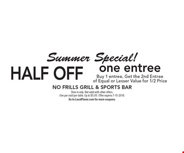 Summer Special! Half off one entree. Buy 1 entree, Get the 2nd Entree of Equal or Lesser Value for 1/2 Price. Dine in only. Not valid with other offers.  One per visit/per table. Up to $5.00. Offer expires 7-15-2018. Go to LocalFlavor.com for more coupons.