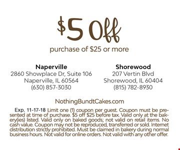 $5 off purchase of $25 or more