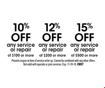 15%offany service or repair of $500 or more. 12%offany service or repair of $200 or more. 10%offany service or repair of $100 or more. Present coupon at time of service write-up. Cannot be combined with any other offers. Not valid with specials or prior services. Exp. 11-19-18. CM07