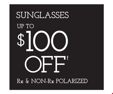 Up to $100 Off Rx & Non Rx Polarized Sunglasses. *Eye examination reimbursement: Bring in a recent eye exam receipt from an Independent Doctor of Optometry at Sterling Optical (or any doctor), and we will subtract the exam costs (up to $98) from your complete pair of glasses. Eye examinations by licensed Doctor of Optometry LIC #0A04625, MO00318. Special testing, if required, is additional. **Frames from special selection with single-vision lenses. †Savings between $20-$100, based on full retail cost. ††Based on manufacturer's mail-in rebate, up to $200. See store for details as other restrictions may apply. Offers not combinable with insurance or other offers. Limited time offers.