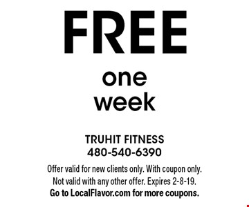 Free one week. Offer valid for new clients only. With coupon only. Not valid with any other offer. Expires 2-8-19. Go to LocalFlavor.com for more coupons.