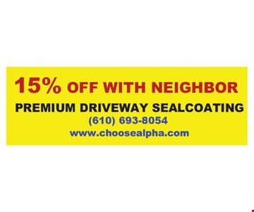15% Off with neighbor premium driveway sealcoating