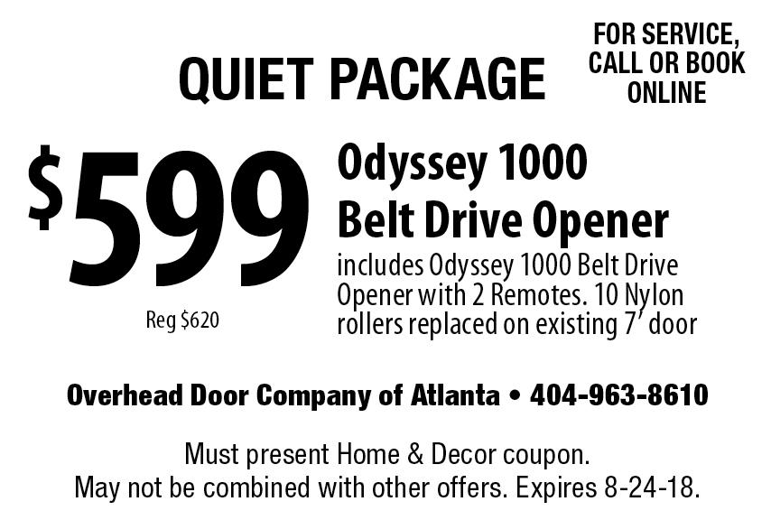 Incroyable Overhead Doors Of Atlanta: Quiet Package $599 Odyssey 1000 Belt Drive  Opener Includes Odyssey 1000