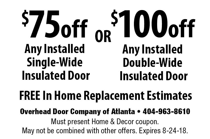 Overhead Doors Of Atlanta: $100off Any Installed Double Wide Insulated Door  FREE In