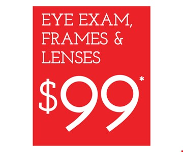 $99 Eye Exam, Frame & Lenses. Frames from select group with single-vision lenses. Contact lens exam additional. With purchase of complete pair of eyeglasses or an annual supply of contact lenses. Contact lens exam additional. Offer for new DAILIES® wearers only. With purchase of (8) 90 packs of DAILIES® AquaComfort Plus® contact lenses. Rebate form required to be mailed in. $220 rebate will be sent in the form of a prepaid Visa® card to the address provided on the rebate form. DAILIES® AquaComfort Plus® is a trademark of Alcon®, a Novartis company. Frames from select group with single-vision lenses. Polycarbonate lenses free with purchase of kid's frames for children age 13 and under. On purchase of complete pair of prescription eyeglasses. Offers valid at Yonkers location only. Offers cannot be combined with insurance. Other restrictions may apply. See store for details. Limited time offers.