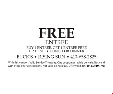 Free entree. Buy 1 entree, get 1 entree free. Up to $15 -lunch or dinner. With this coupon. Valid Sunday-Thursday. One coupon per table per visit. Not valid with other offers or coupons. Not valid on holidays. Offer valid 4/4/19-5/3/19. md