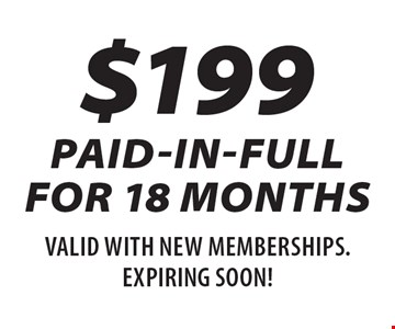 $199 paid-in-full for 18 months. Valid for new memberships. Expires 12/24/18.