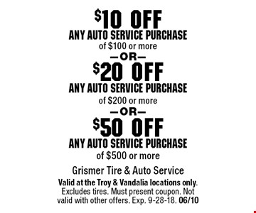 $50 off any auto service purchase of $500 or more. $20 off any auto service purchase of $200 or more. $10 off any auto service purchase of $100 or more. . Valid at the Troy & Vandalia locations only.Excludes tires. Must present coupon. Not valid with other offers. Exp. 9-28-18. 06/10