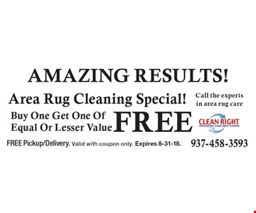 Buy One Get One Of Equal Or Lesser Value Free Area Rug Cleaning Special!. FREE Pickup/Delivery. Valid with coupon only. Expires 8-31-18.