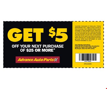 Get $5 off your next purchase of $25 or more.