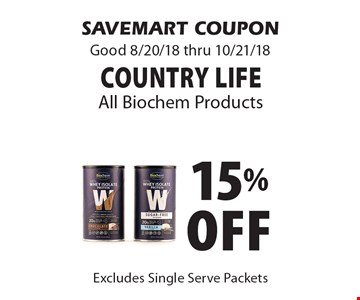 15% Off Country Life All Biochem Products. SAVEMART COUPON Good 8/20/18 thru 10/21/18
