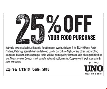 Not valid towards alcohol, gift cards, function room events, delivery, 2 for $12.49 Menu, Party Platters, Catering, special deals on Takeout, Lunch, Bar or Late Night, or any other special offer, coupon or discount. One coupon per table. Valid at participating locations. Void where prohibited by law. No cash value. Coupon is not transferable and not for resale. Coupon void if expiration date & code not shown. Code: 5810