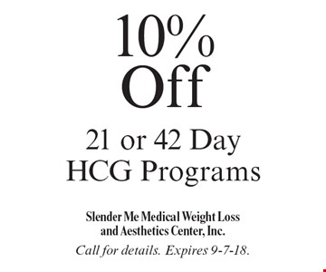 10% Off 21 or 42 Day HCG Programs. Call for details. Expires 9-7-18.
