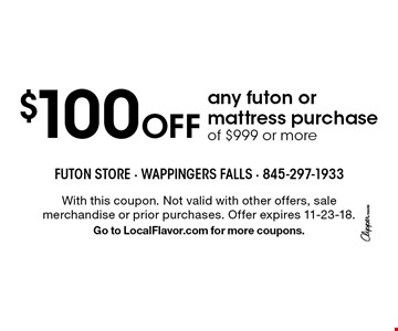 The Futon 100 Off Any Or Mattress Purchase Of 999 More