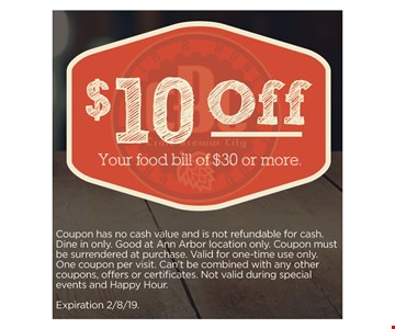 $10 off your food bill of $30 or more. Coupon has no cash value and is not refundable for cash. Dine in only. Good at Ann Arbor location only. Coupon must be surrendered at purchase. Valid for one-time use only. One coupon per visit.†Can't be combined with any other coupons, offers or certificates. Not valid during special events and Happy Hour.Expiration2/8/19