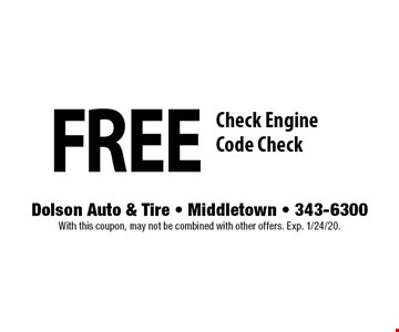 Free Check Engine Code Check. With this coupon, may not be combined with other offers. Exp. 1/24/20.