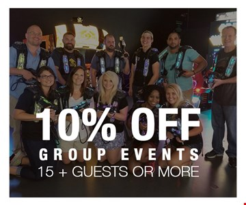 10% OFF group events, 15+ guests or more.