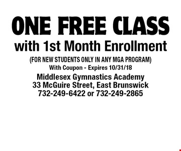 free class with 1st Month Enrollment (FOR NEW STUDENTS ONLY IN ANY MGA PROGRAM). With Coupon - Expires 10/31/18
