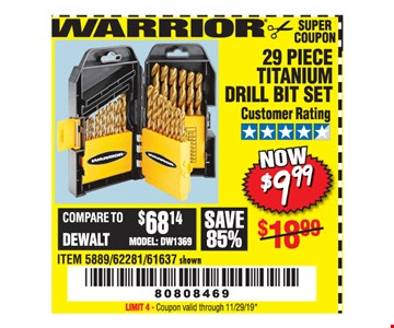Warrior 29 piece titanium drill bit set $9.99. Original coupon only. No use on prior purchases after 30 days from original purchase or without original receipt. Coupon valid through 11/29/19. Limit 4.