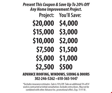Present This Coupon & Save Up To 20% Off Any Home Improvement Project. $20,000 You'll Save $4000, $15,000 Save $3,000, $10,000 Save 2000, $7500 Save $1500, $5000 Save $1000, $2500 Save $500. *Excludes insurance estimates. Sale is 15% Off. Take an additional 5% off if work is contracted at initial consultation. Excludes entry doors. May not be combined with other Advance Inc. promotional offers. Exp. 11-30-19.