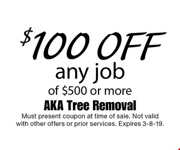 $100 off any job of $500 or more. Must present coupon at time of sale. Not valid with other offers or prior services. Expires 3-8-19.