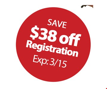 Save $38 Off Registration. Expires: 3/15/19.