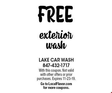 FREE exterior wash. With this coupon. Not valid with other offers or prior purchases. Expires 11-23-19. Go to LocalFlavor.com for more coupons.
