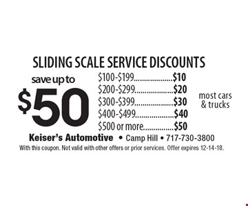 Save up to $50 sliding scale service discounts. $100-$199...................$10. $200-$299...................$20. $300-$399...................$30. $400-$499...................$40. $500 or more...............$50. Most cars & trucks. With this coupon. Not valid with other offers or prior services. Offer expires 12-14-18.