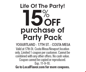 Life Of The Party! 15% OFF purchase of Party Pack. Valid at 17th St. Costa Mesa/Newport location only. Limited 1 coupon per customer. Cannot be combined with any other offers. No cash value. Coupon cannot be copied or reproduced.Exp. 11-9-18.Go to LocalFlavor.com for more coupons.