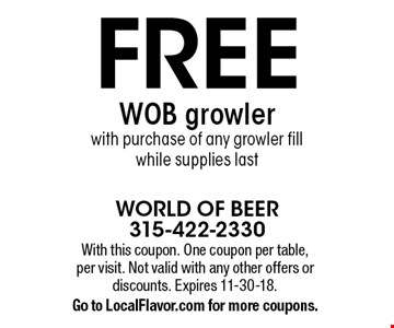 FREE WOB growler with purchase of any growler fill while supplies last. With this coupon. One coupon per table, per visit. Not valid with any other offers or discounts. Expires 11-30-18.Go to LocalFlavor.com for more coupons.