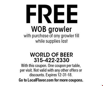 FREE WOB growler with purchase of any growler fill. While supplies last. With this coupon. One coupon per table, per visit. Not valid with any other offers or discounts. Expires 12-31-18. Go to LocalFlavor.com for more coupons.