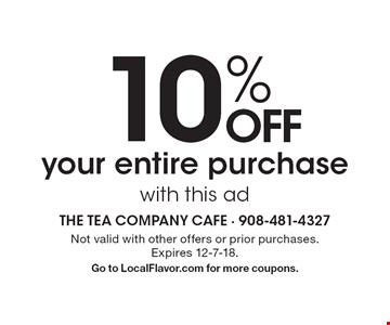 10% OFF your entire purchase with this ad. Not valid with other offers or prior purchases. Expires 12-7-18. Go to LocalFlavor.com for more coupons.