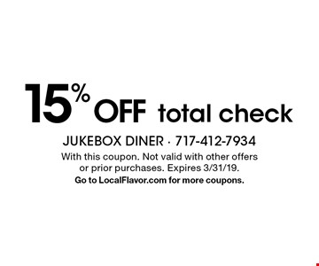 15% OFF total check. With this coupon. Not valid with other offers or prior purchases. Expires 3/31/19. Go to LocalFlavor.com for more coupons.