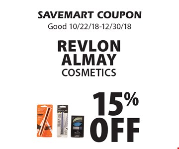 15% off Revlon AlmayCosmetics. SAVEMART COUPONGood 10/22/18-12/30/18