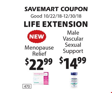 $22.99$14.99Life Extension. SAVEMART COUPONGood 10/22/18-12/30/18