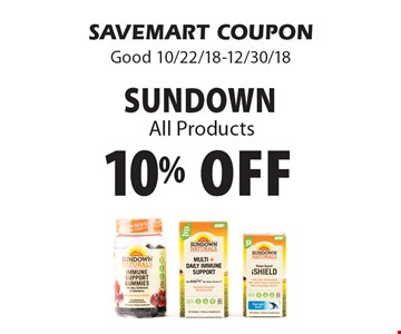 10% off sundownAll Products. SAVEMART COUPONGood 10/22/18-12/30/18