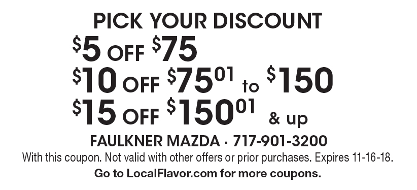 Faulkner Mazda: PICK YOUR DISCOUNT $5 OFF $75, $10 OFF $75.01 To $150,