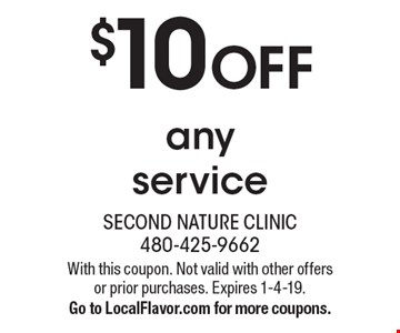 $10 OFF any service. With this coupon. Not valid with other offers or prior purchases. Expires 1-4-19. Go to LocalFlavor.com for more coupons.