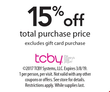 15%off total purchase price excludes gift card purchase. 2017 TCBY Systems, LLC. Expires 3/8/19. 1 per person, per visit. Not valid with any other coupons or offers. See store for details. Restrictions apply. While supplies last.