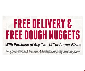 Free delivery & free dough nuggets with purchase of any two 14