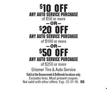 $50 off any auto service purchase of $250 or more. $20 off any auto service purchase of $100 or more. $10 off any auto service purchase of $50 or more. . Valid at the Beavercreek & Bellbrook locations only. Excludes tires. Must present coupon. Not valid with other offers. Exp. 12-31-18.BB